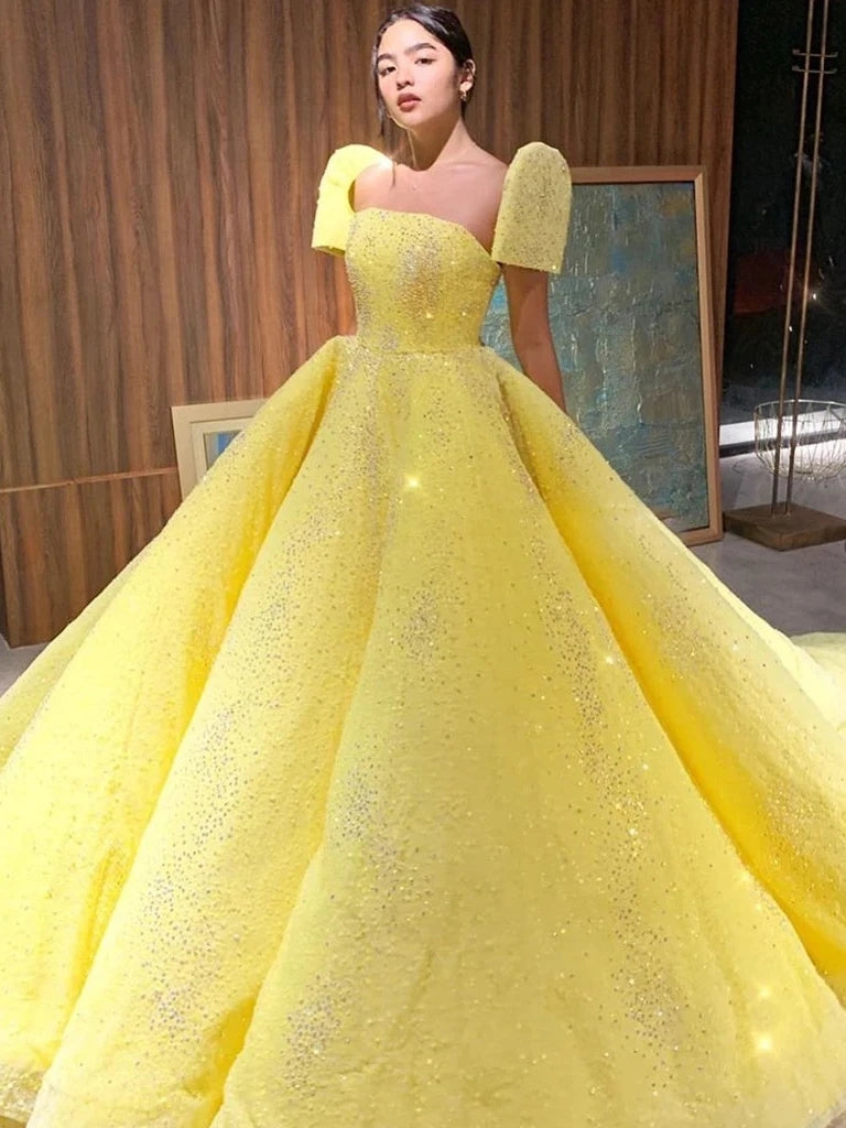 Ball Gown Sparkly Yellow Short Sleeves Prom Dresses Evening Dress OKT15