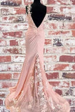 Mermaid Pink Lace Appliques Long Prom Dress With Slit Backless Evening Dress OKT14