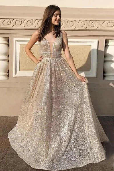 Stunning A-line V neck Sparkly Silver Long Prom Dress Evening Dress OKT30