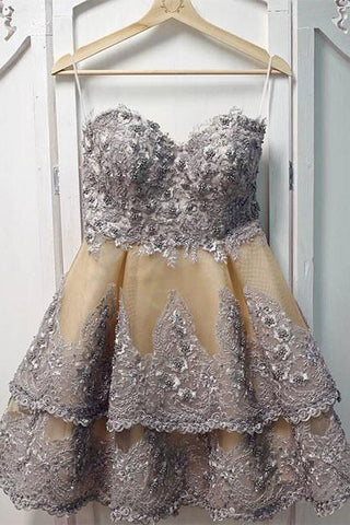 Unique Sweetheart Appliques Short Prom Dress, Layers Homecoming Dress OKP56