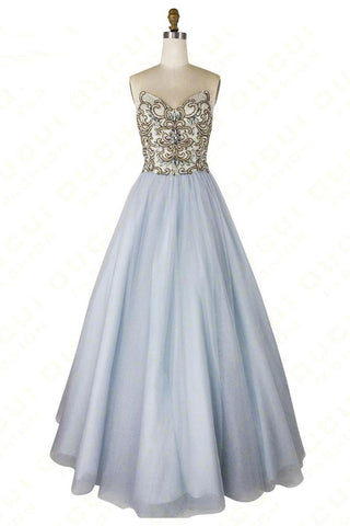 A-line Sweetheart Beaded Light Blue Long Prom Dresses Unique Formal Gowns OKR55