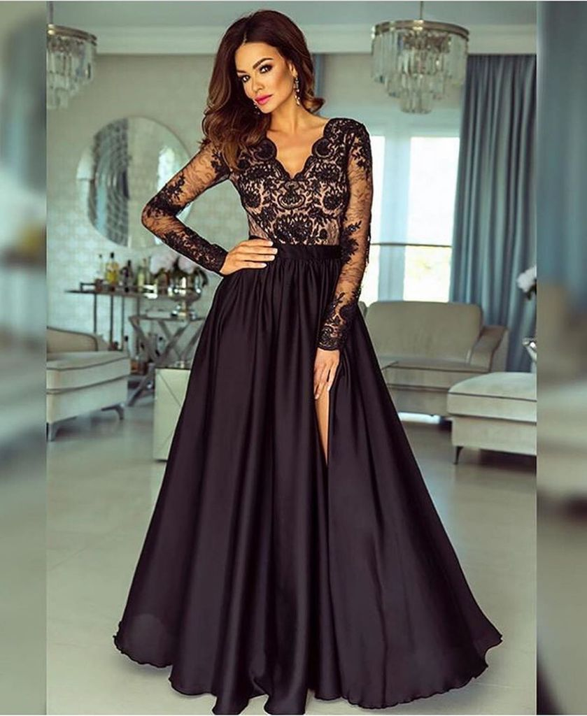A-line V neck Long Sleeves Prom Dresses Lace Appliques Formal Gowns OKR73