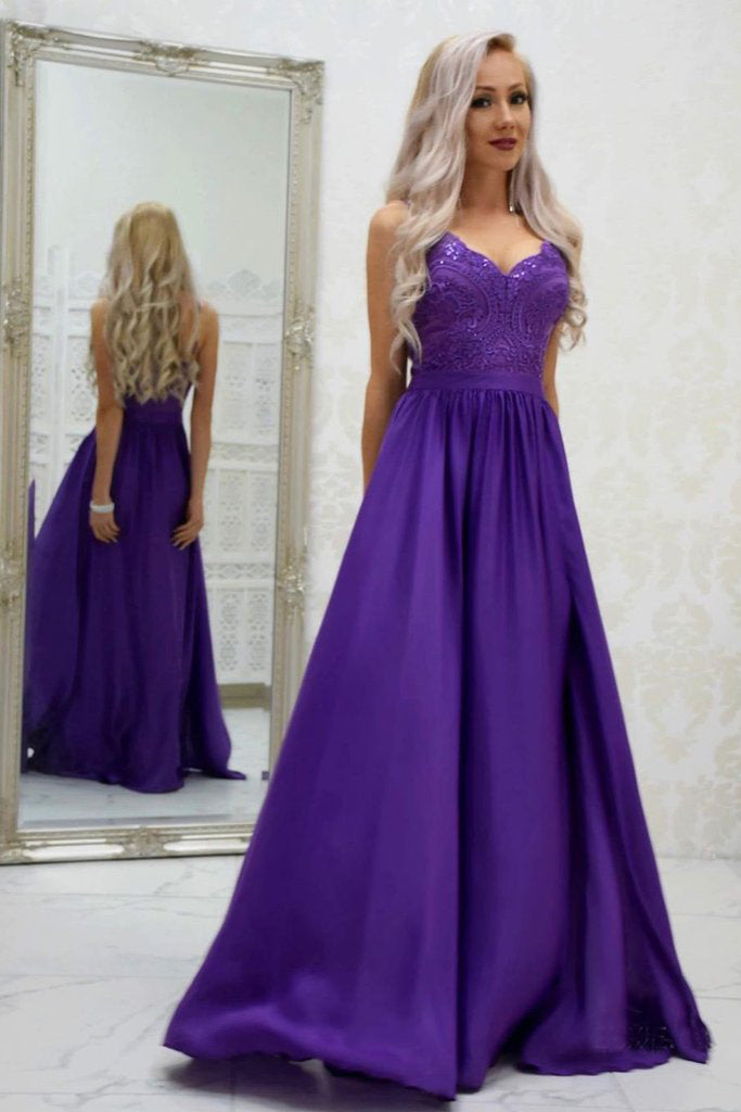 A-line Spaghetti Straps Grape Long Satin Prom Dresses Lace Top Formal Gowns OKR54