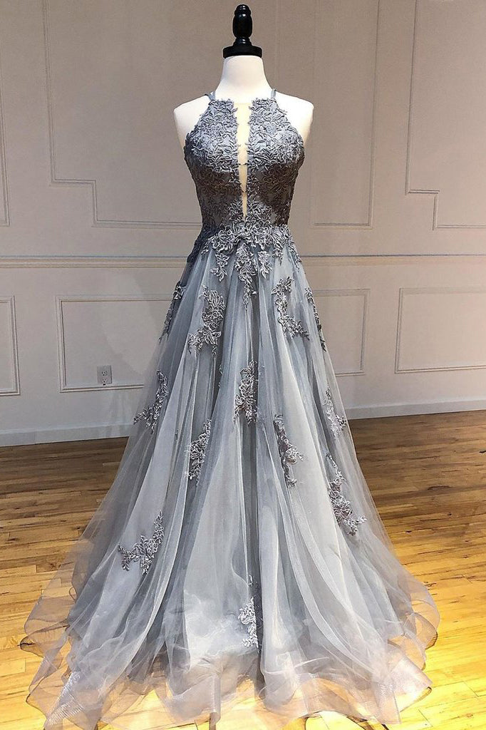 A-line Spaghetti Straps Lace Appliques Grey Tulle Long Prom Dresses Party Dresses OKR70