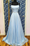 A-line Spaghetti Straps Light Sky Blue Long Simple Prom Dresses Evening Gowns OKR66