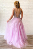 A-line V Neck Lilac Long Prom Dresses Tulle Beaded Evening Gowns OKR64