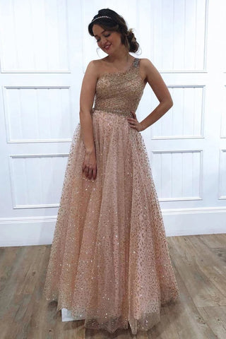A-line One Shoulder Sparkly Long Sequins Prom Dresses Evening Dresses OKR62