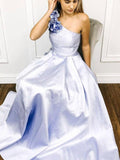 A-line One Shoulder Satin Long Prom Dress With Flowers Evening Dresses OKR60