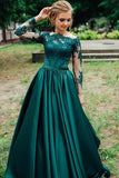 A Line Long Sleeves Dark Green Satin Appliques Prom Dresses Evening Dress OKR46