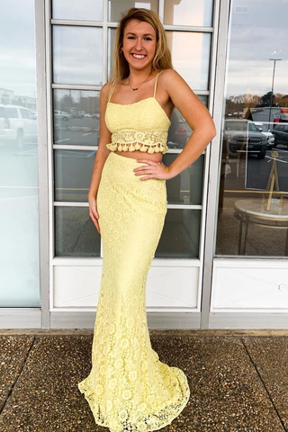 Two Piece Spaghetti Straps Yellow Lace Long Mermaid Prom Dress OKR58