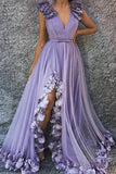 A Line V Neck Long Flowers Rushed Prom Dresses With Silt Evening Dresses OKR47