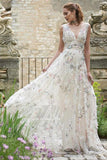 A Line V Neck Lace Appliques Long Off White Prom Dresses Evening Dresses OKR48