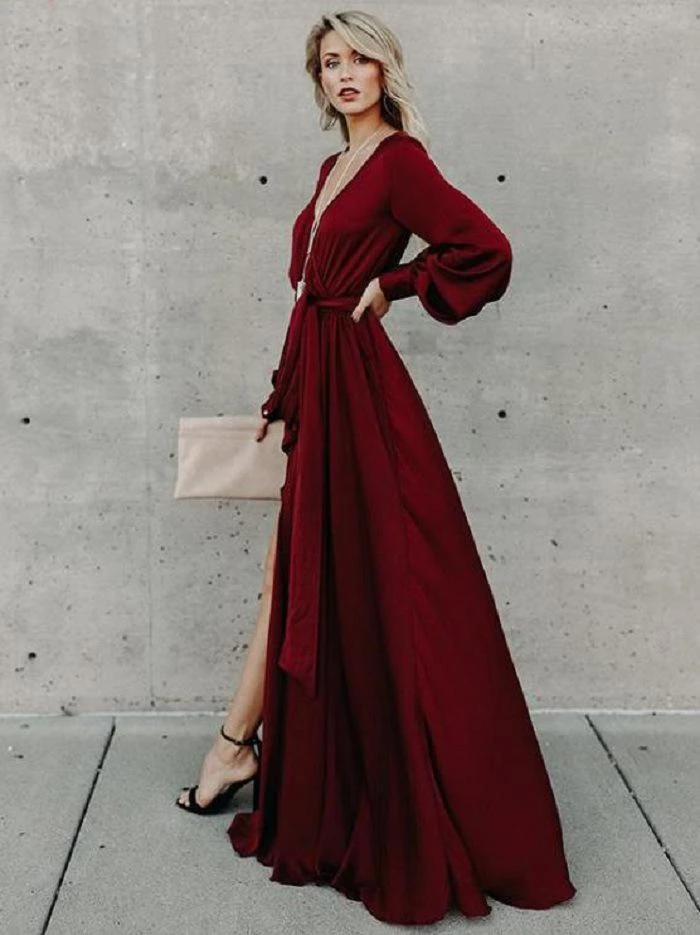 A-line Burgundy Long Prom Dresses Long Sleeve Simple Cheap Evening Dress OKR56