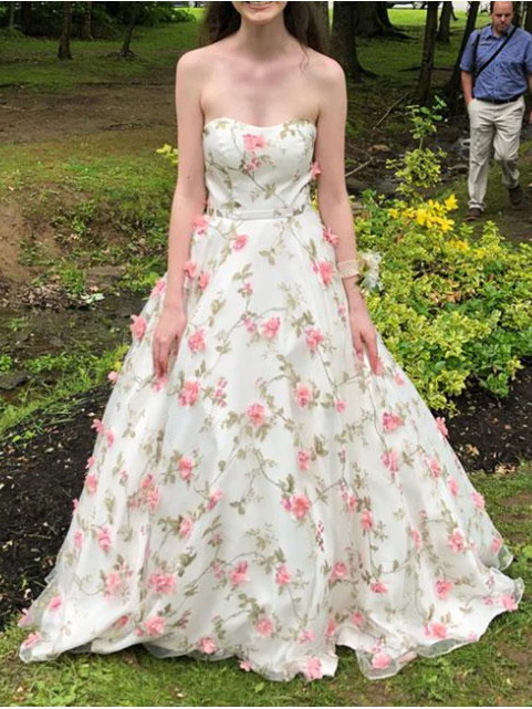 A Line Floral Long Prom Dresses Strapless Beautiful Flower Printed Prom Dress OKR43
