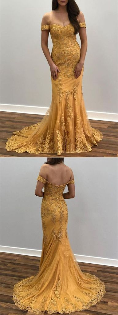 Trumpet/Mermaid Off-the-shoulder Lace Appliques Long Prom Dresses Evening Dresses OKR52