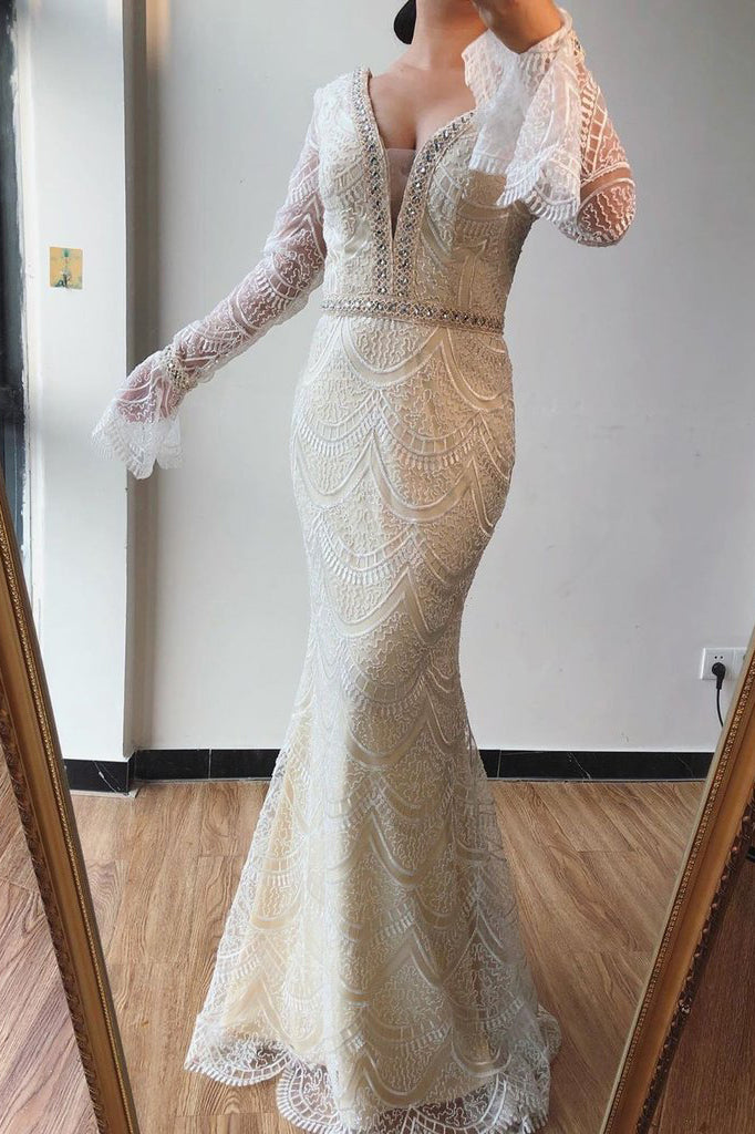 Trumpet/Mermaid V neck Lace Beaded Long Sleeves Prom Dresses Formal Elegant Evening Gowns OKS74