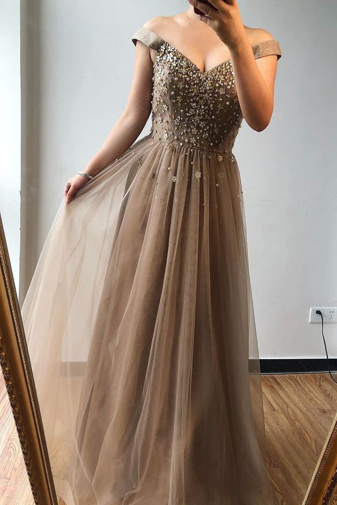 A-line Off-the-shoulder Beaded Long Prom Dresses Brown Evening Gowns OKS72