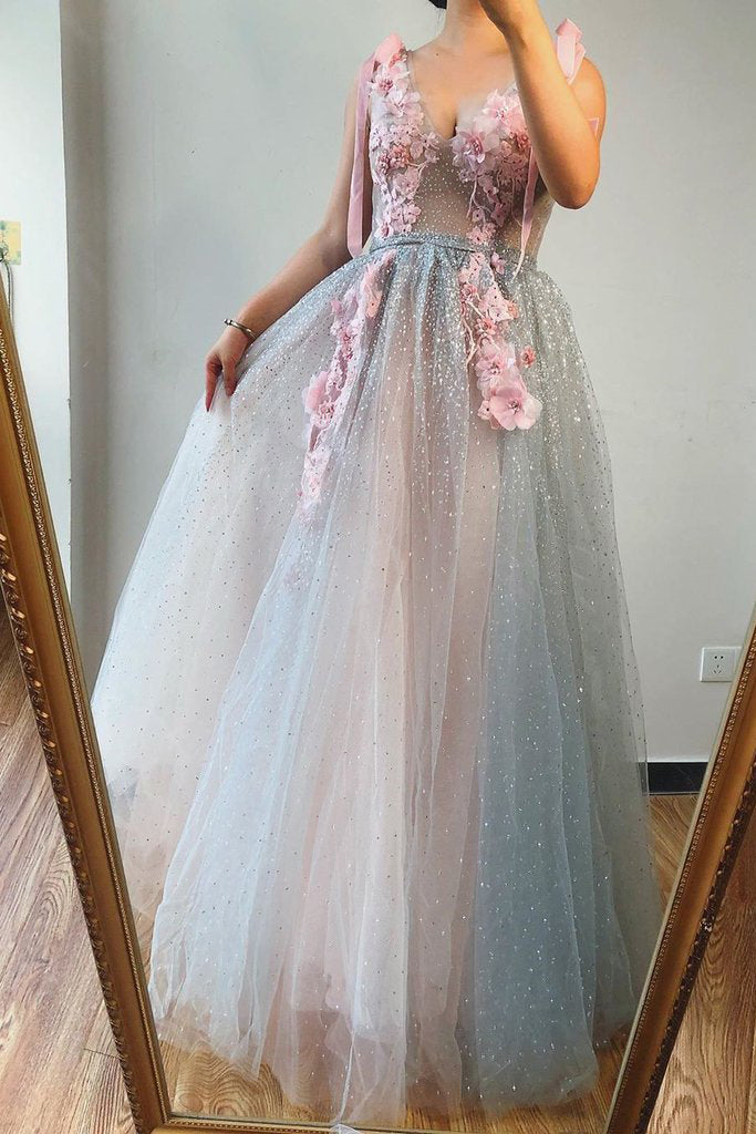 A-line V Neck Beaded Pink Flowers Long Prom Dresses Beautiful Evening Gowns OKS71