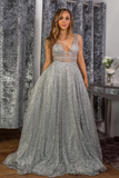 Stunning A-line V neck Sparkly Tulle Evening Dress Silver Prom Dress OKS16
