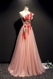 A Line Pink One Shoulder Tulle Red Applique Long Prom Dress Evening Dress OKR97