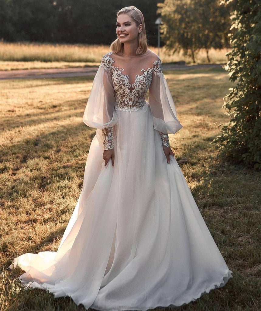 A-Line Long Sleeve Lace Appliques Tulle Sheer Neck Wedding Dresses OKV24