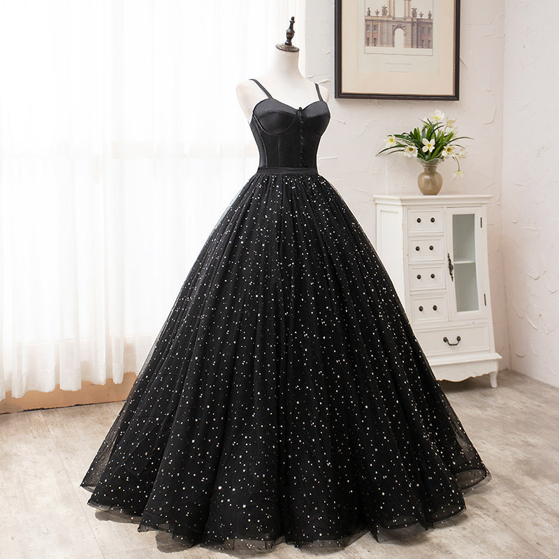 Vintage Ball Gown Lace Up Black Princess Prom Dresses OK910