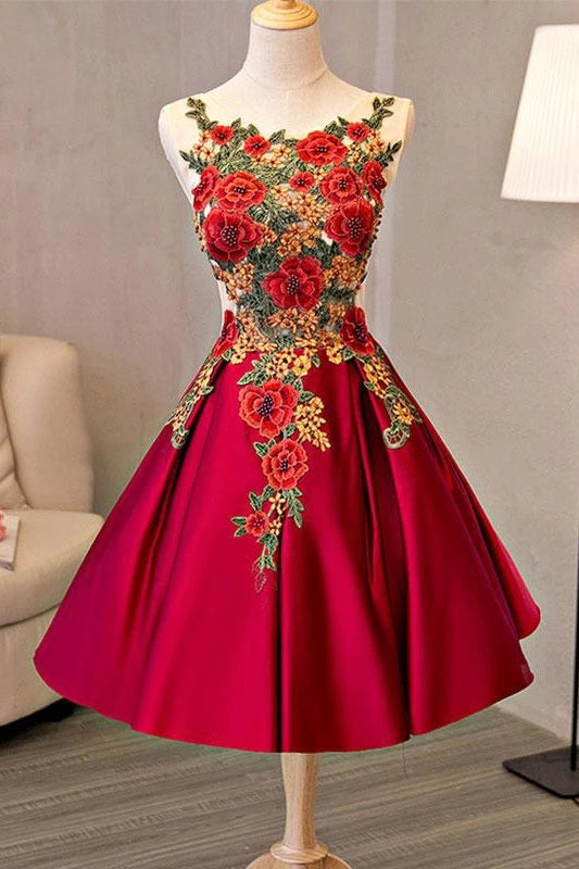 Pretty Short Satin A-line Lace Up Homecoming Dresses With Embroidered Appliques K092