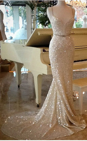 Glitter Sheath Spaghetti Straps Long Prom Dresses Chich Women Dress Pageant Dresses K0924