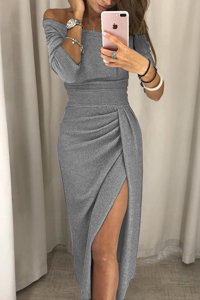 Simple Half Sleeves Fashion Gray Prom Dresses Casual Dress P0924