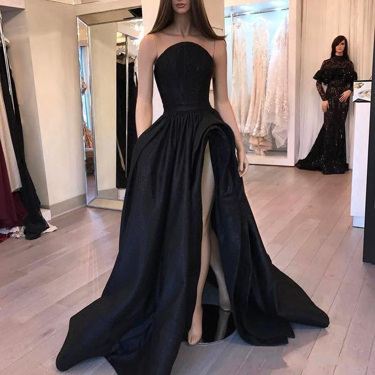 New Arrival Simple Black Strapless Prom Dresses Modest Evening Dresses OD91