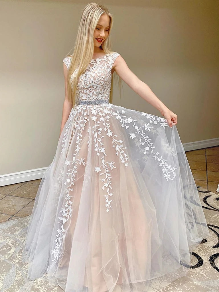 Chic Pretty Long A-line Scoop Neckline Backless Princess Prom Dresses With Lace Appliques K918