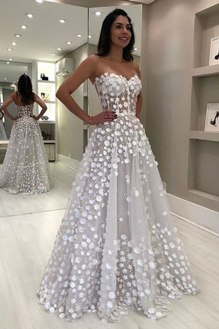 Elegant Sweetheart White A-line Floor Length Beach Wedding Dresses Bridal Dress OK923