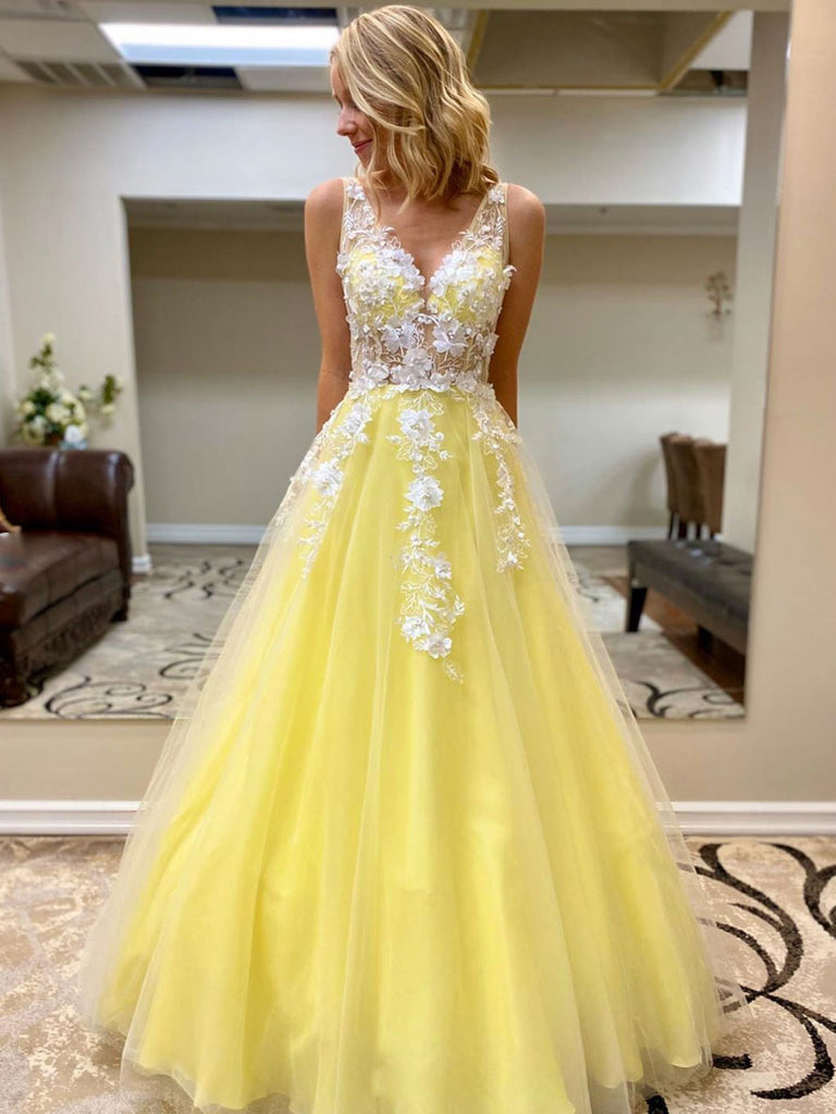Beauty Yellow Long A-line Prom Dresses For Teens Elegant Princess Dress OK191