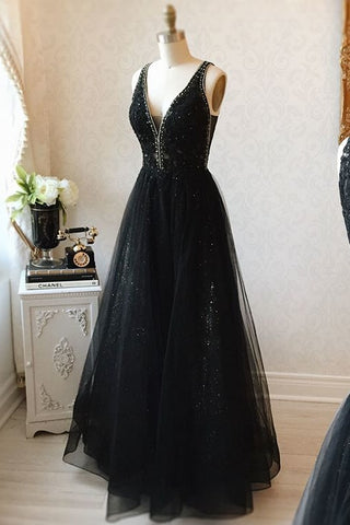 V-neck Black Floor Length Long Prom Dresses Modest Party Gowns OK99