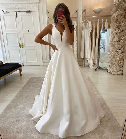 New Arrival V-neck Ivory Simple A-line Prom Dresses Beach Wedding Dresses OD914
