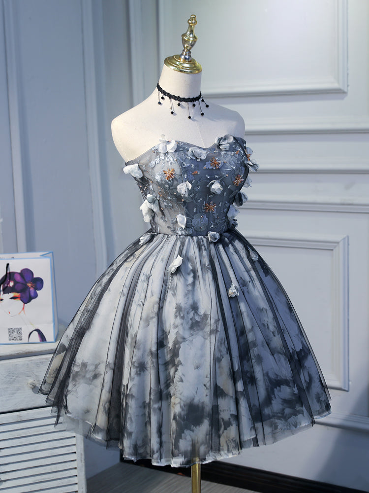 Sweetheart Lace Up Black Beading Tulle Short Homecoming Dresses Cute Dress OK914