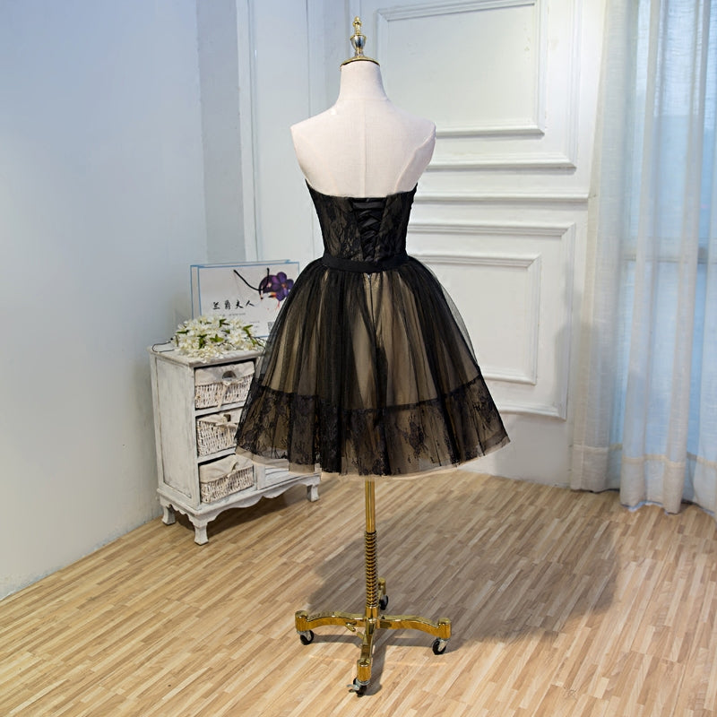 Black Lace Tulle Simple Homecoming Dresses Pretty Short Party Dresses OK916
