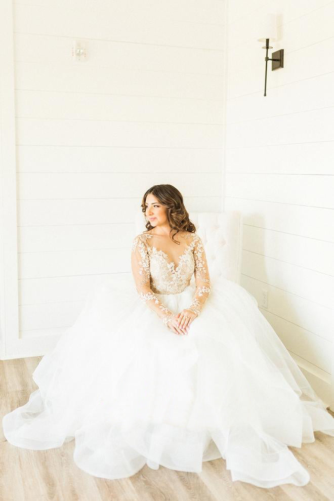 Stunning Plus Size Wedding Dresses with Lace Applique and Long Sleeves OKU77