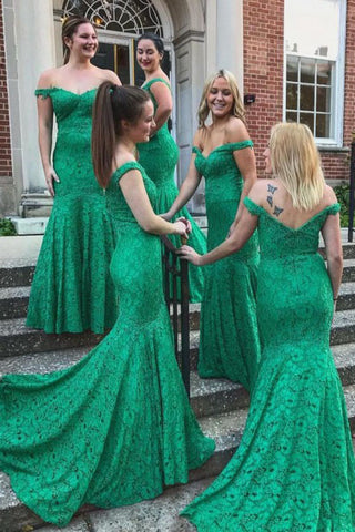 Mermaid Off-the-Shoulder Sweep Train Green Lace Bridesmaid Dress OKR24