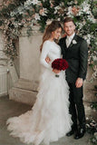 Sweety Tulle Long Sleeve Wedding Dresses Court Train A-Line Bridal Dress Cascading Ruffles Wedding Gowns OKW17