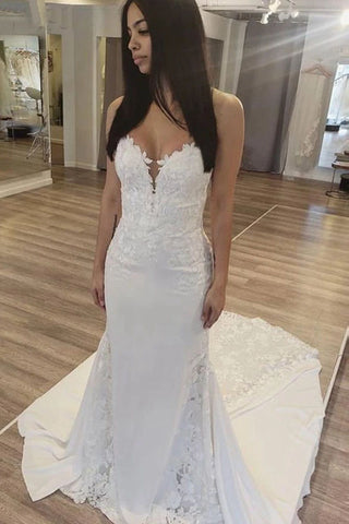 Elegant Sweetheart Sexy Mermaid Wedding Dress Lace Applique Bridal Dress OKW41