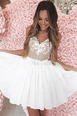 A-Line Spaghetti Straps White Homecoming Dress with Lace Appliques OKM5