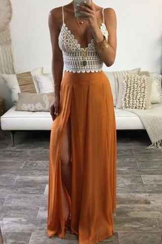 Sexy Spaghetti Straps Sleeveless Lace Top Long Prom Dresses Evening Gown OKS55
