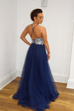 A Line Navy Blue Tulle Prom Dresses Spaghetti Straps Long Prom Gown OKS10