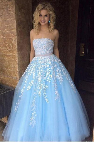 Cheap A-line  Sky Blue Lace Appliqued Tulle Long Strapless Prom Dresses OKI24