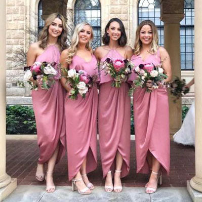 Modest Pink High Low Long Bridesmaid Dress with Ruffles OKG62