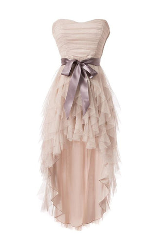 Cheap Simple Strapless Tulle Homecoming Cocktail Dresses OK14