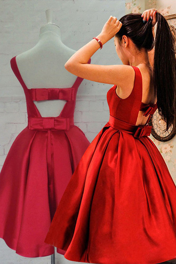 Simple Hot-selling Bateau Satin Short Red Homecoming Dress with Bowknot OK337