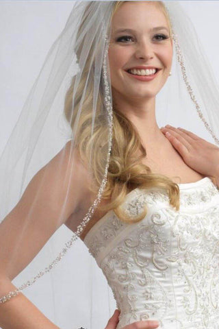 One Layer Fingertip Beading Edge Wedding Veil with Crystals and Sequins WV2