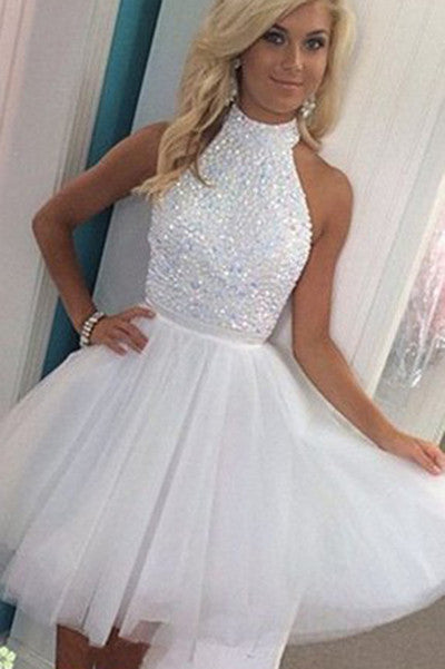 Halter Homecoming Dresses,A Line Homecoming Dresses,Open Back Homecoming Dress,Tulle Prom Dress,Beaded Prom Dresses,White Homecoming Dresses,Short Homecoming Dresses